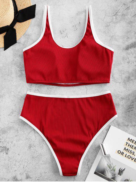 ZAFUL ribetes de contraste V-cableado con textura acanalada de Tankini del traje de baño - Rojo Lava XL Mobile