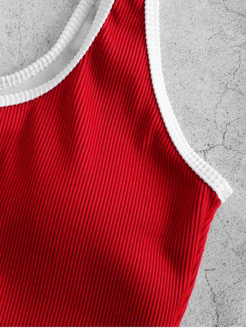 ZAFUL Maillot de Bain Tankini Côtelé Texturé Contrasté à Armature en V - Rouge Lave XL Mobile