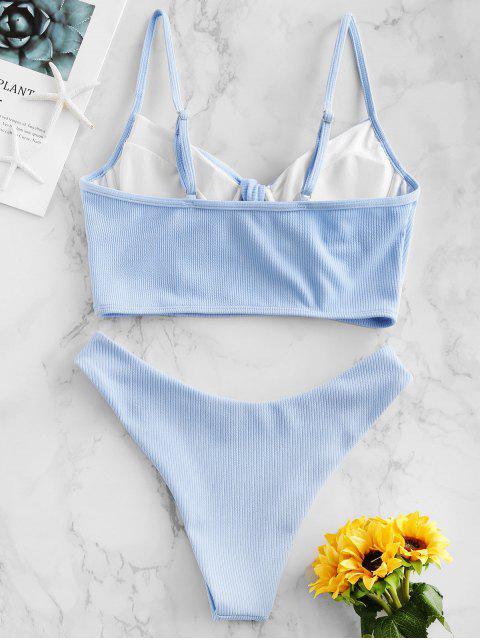 ZAFUL acanalado anudado High Cut empuja hacia arriba el traje de baño de Tankini - Coral Azul XL Mobile