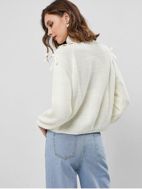 Pullover mit Raglanärmel und Schnürsenkel ,Rollkragen - Weiß S Mobile