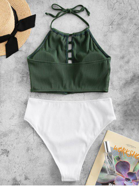 ZAFUL textura acanalada Escalera recorte Halter Tankini del traje de baño - Mar Verde Mediana S Mobile