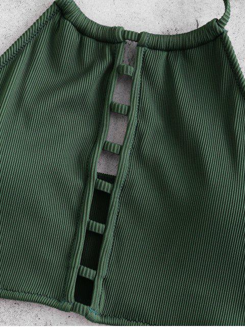 ZAFUL textura acanalada Escalera recorte Halter Tankini del traje de baño - Mar Verde Mediana XL Mobile