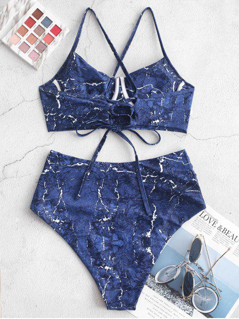 Mármol ZAFUL Imprimir entrecruzado con pliegues con aros de Tankini del traje de baño - Azul de Arándanos L Mobile