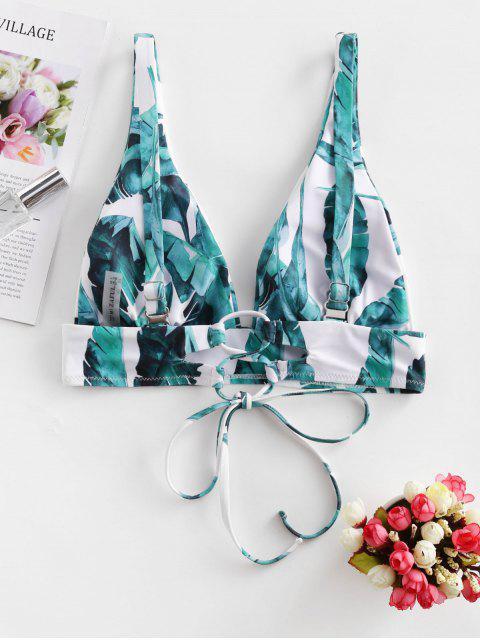 lady ZAFUL Palm Leaf Tie Tropical Bikini Top - WHITE M Mobile