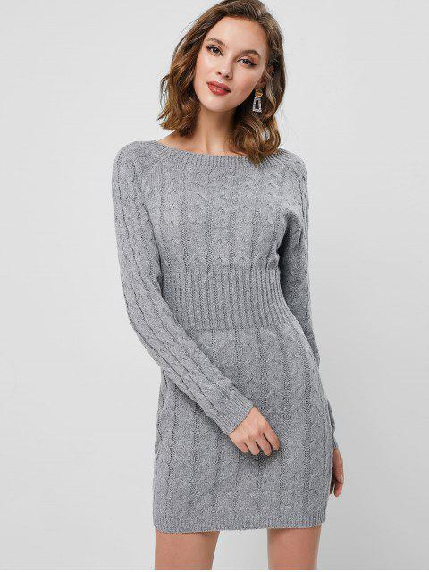 women Raglan Sleeve Cable Knit Mini Sweater Dress - LIGHT GRAY ONE SIZE Mobile