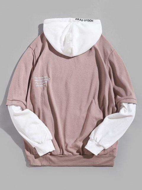 affordable Contrast Faux Twinset Letter Embroidery Drawstring Hoodie - PINK ROSE S Mobile