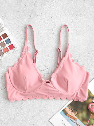 ZAFUL Scalloped Edge Underwire Bikini Top - Pink Rose M