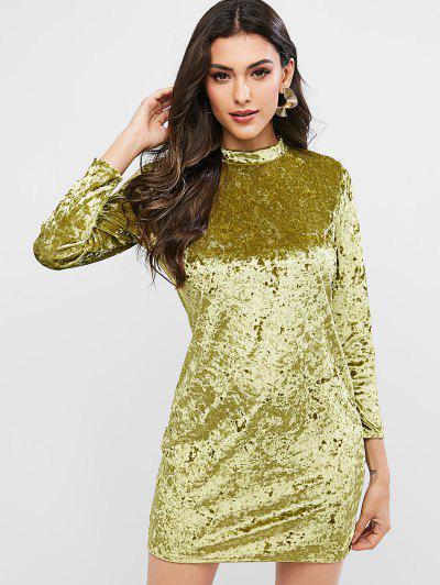 Velvet Long Sleeve Crew Neck Bodycon Dress - Chartreuse S
