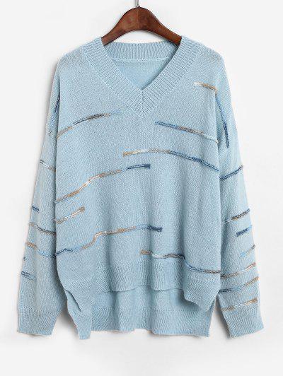 ZAFUL Embellished Side Slit High Low Sweater - Blue Koi S