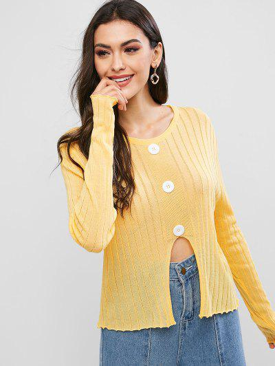 Mock Buttons Front Notched Hem Crew Neck Sweater - Yellow