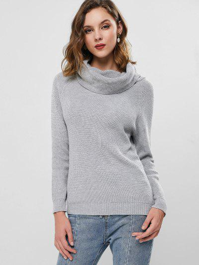 Raglan Sleeve Cowl Neck Knit Sweater - Light Gray S