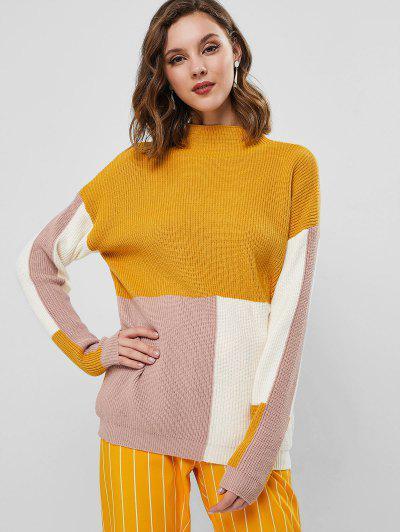 Drop Shoulder Mock Neck Color Block Pullover Sweater - Bee Yellow L
