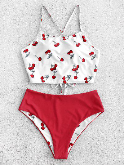 ZAFUL Reversible Cherry Print Lace Up Tankini Swimsuit - Lava Red M