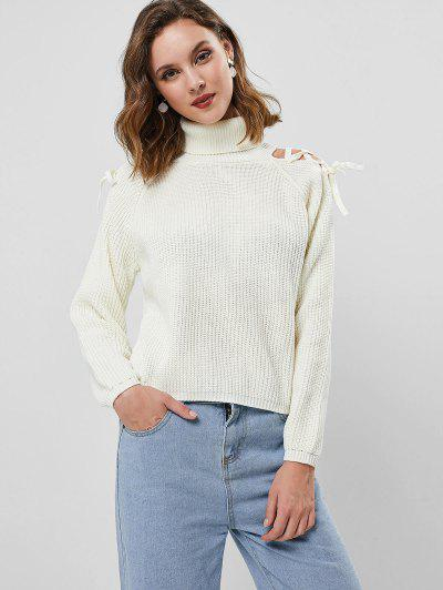Turtleneck Pullover Raglan Sleeve Lace Up Sweater - White L