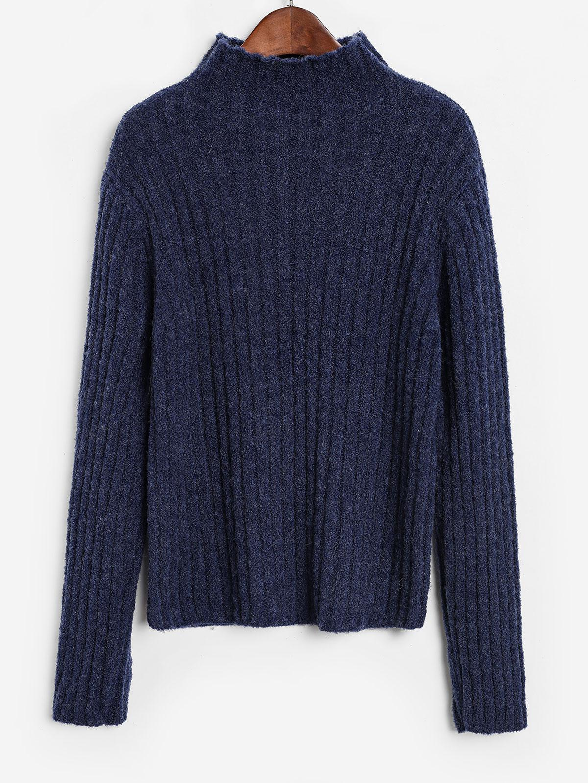 ZAFUL Basic Mock Neck Rib Knit Sweater