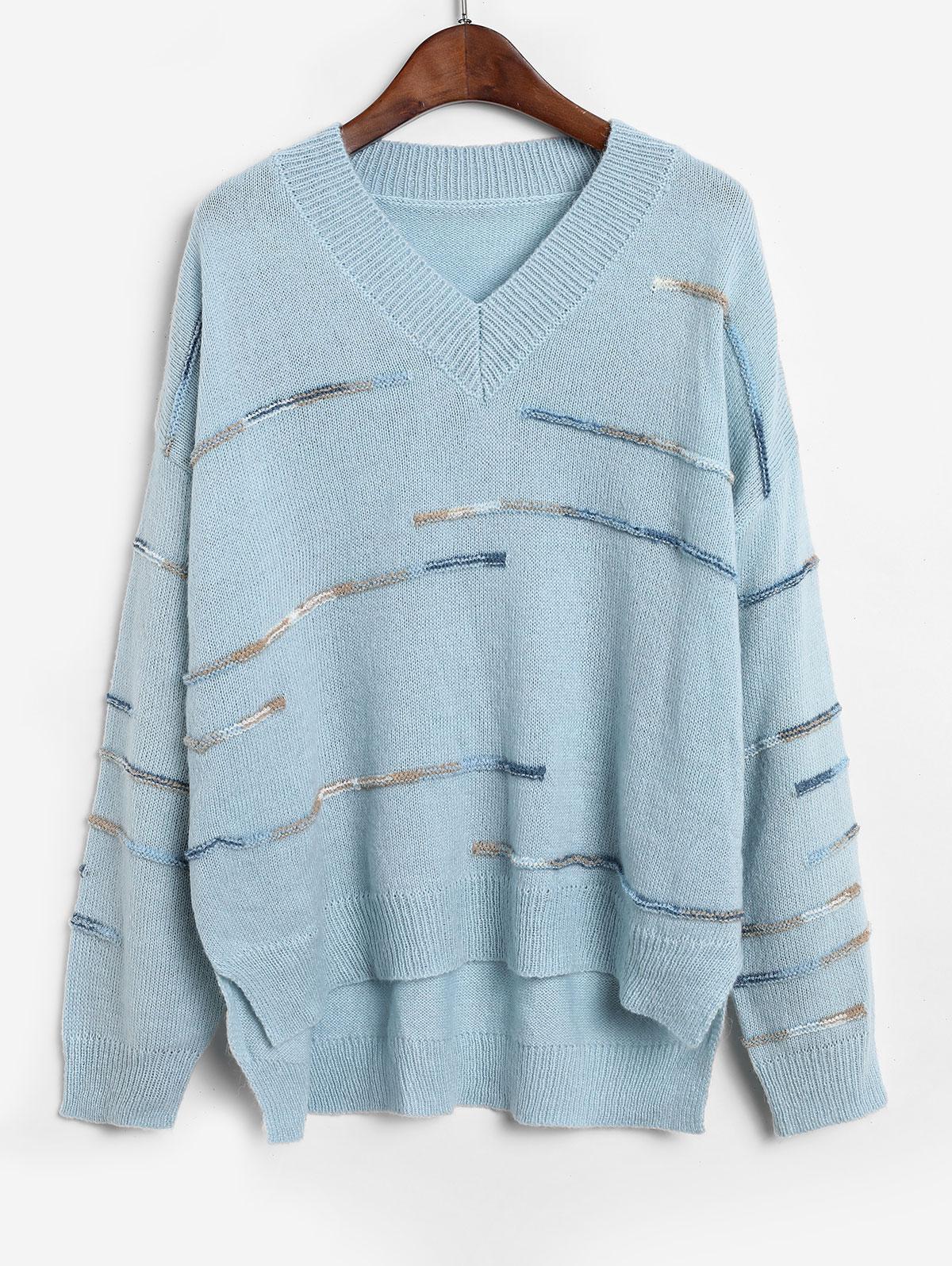 ZAFUL Embellished Side Slit High Low Sweater