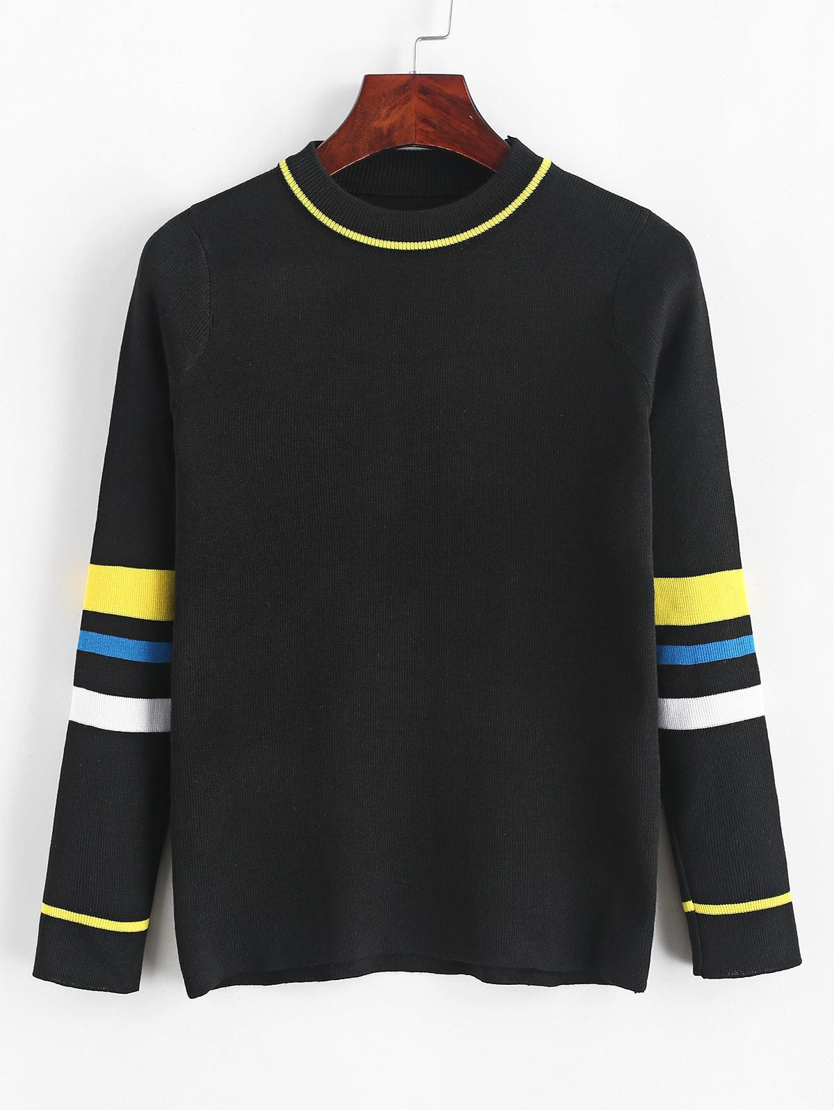 Pullover Slim Stripes Panel Crew Neck Sweater