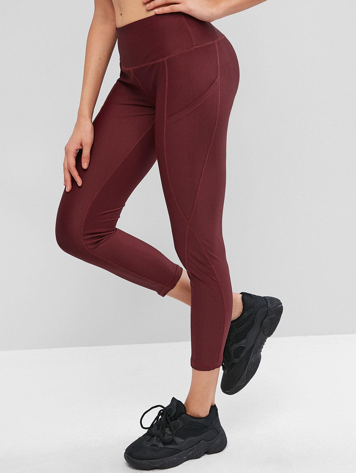 High Waisted Stitching Side Pockets Gym Leggings, Red wine