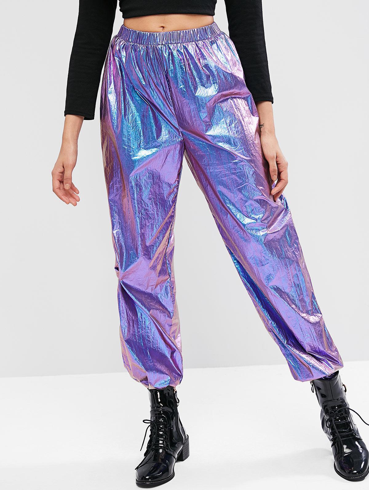 ZAFUL Metallic High Waisted Jogger Pants, Purple