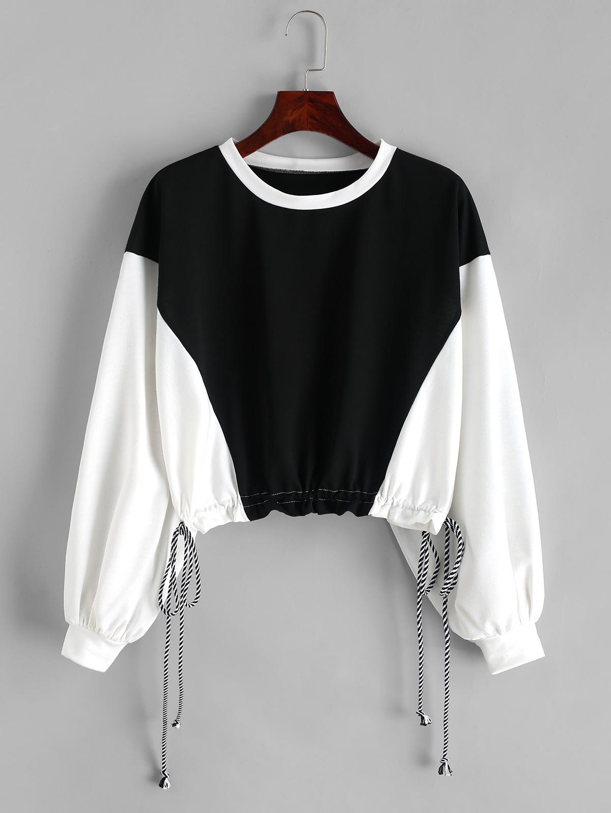 ZAFUL Two Tone Drop Shoulder Drawstring Cropped Sweatshirt, Multi