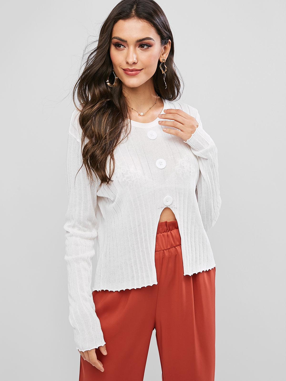 Mock Buttons Front Notched Hem Crew Neck Sweater