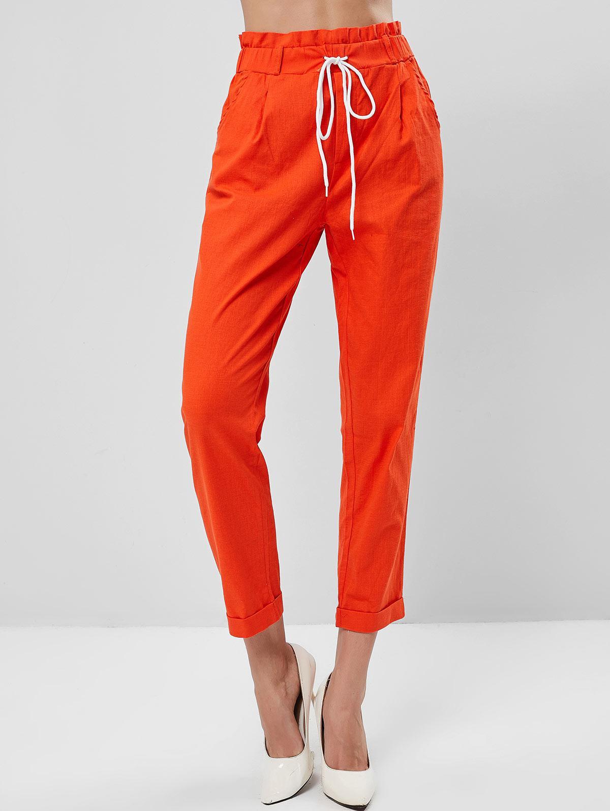 Pockets Tie Waist Cuffed Hem Paperbag Pants
