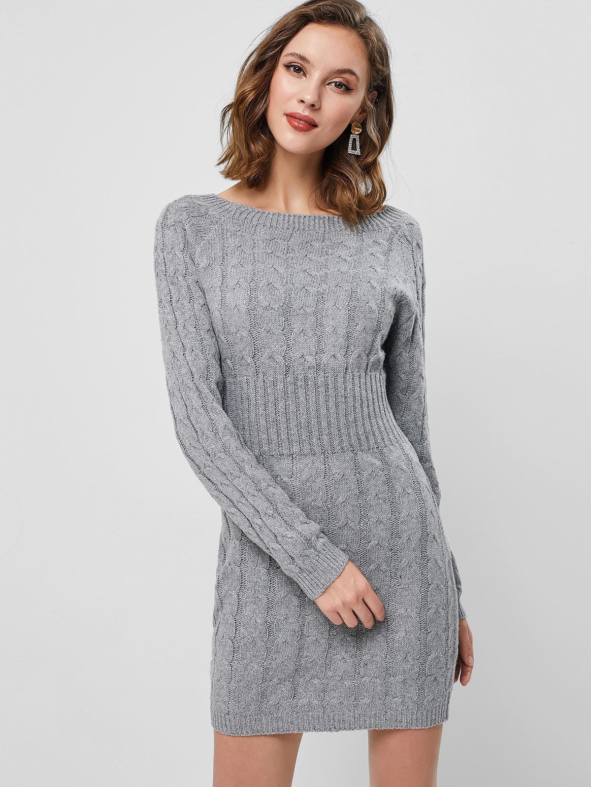 Raglan Sleeve Cable Knit Mini Sweater Dress thumbnail