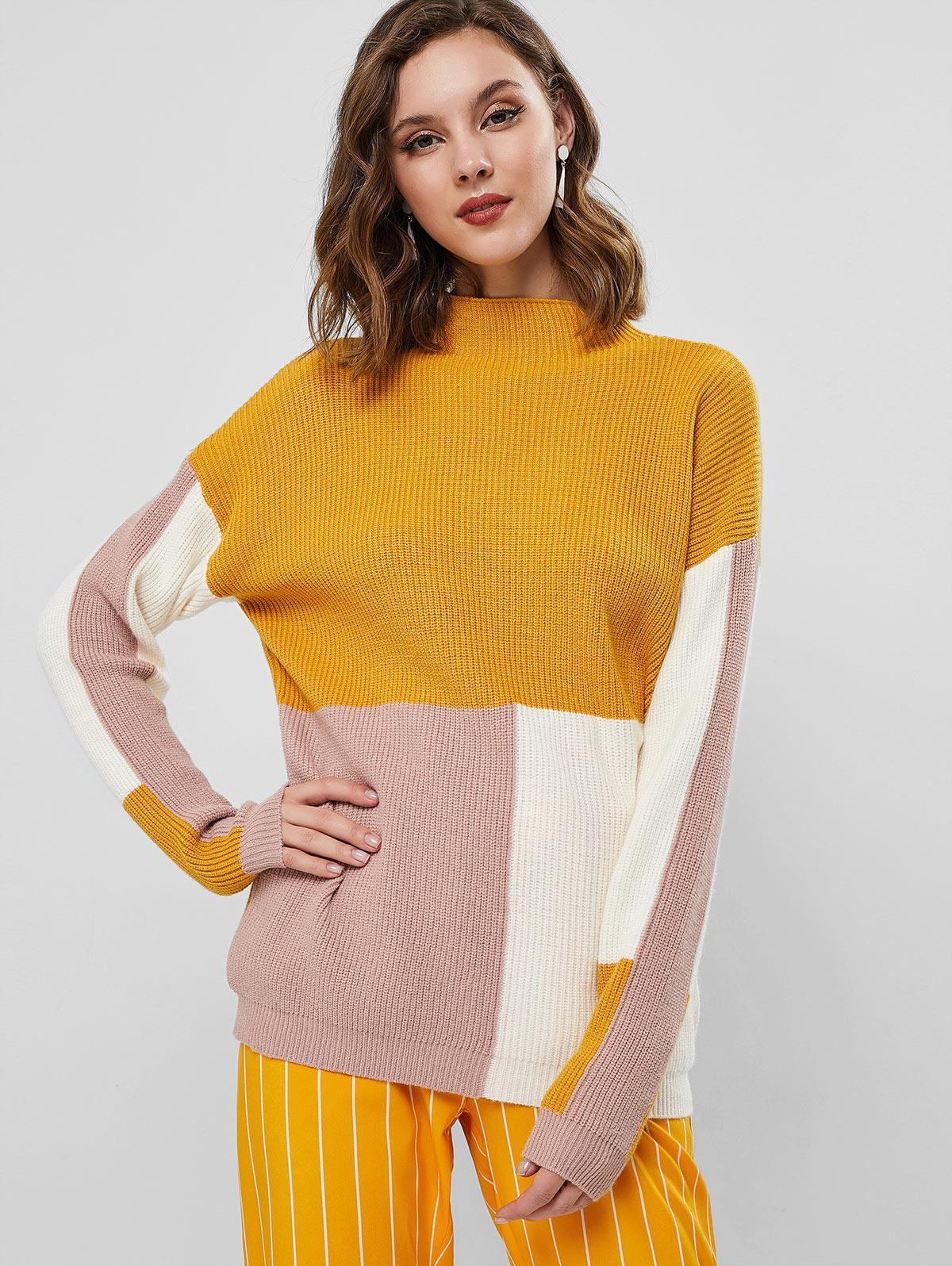 Drop Shoulder Mock Neck Color Block Pullover Sweater