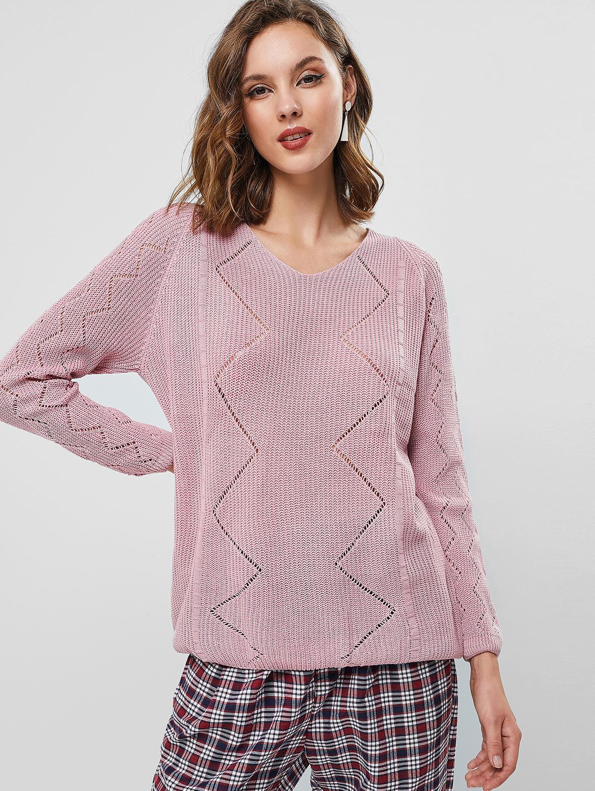 Pointelle Knit Raglan Sleeve Sweater
