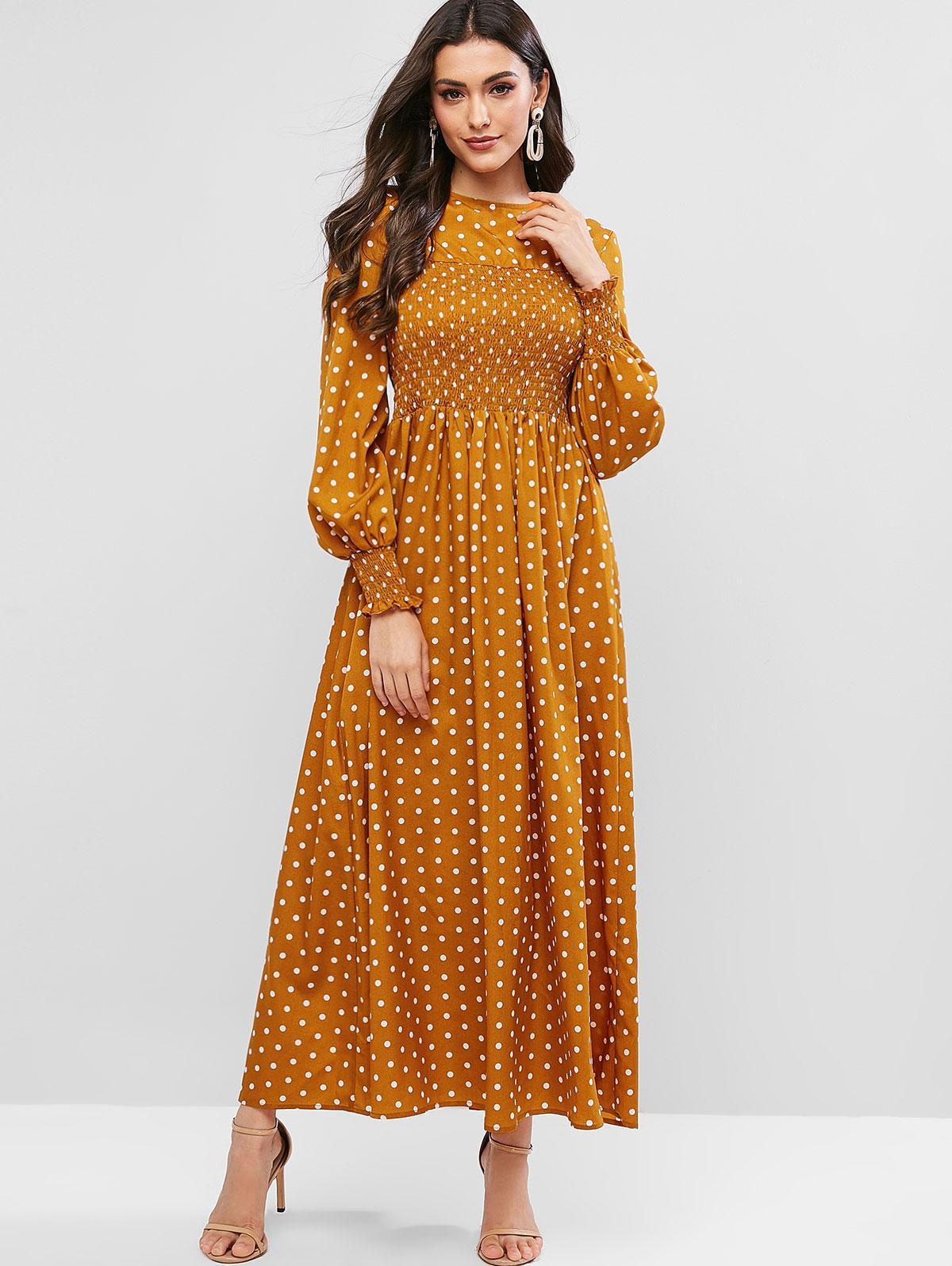 ZAFUL Shirred Polka Dot Maxi Dress, Bee yellow