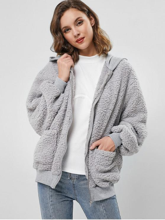 outfit ZAFUL Hooded Fluffy Zip Up Teddy Coat - GRAY S