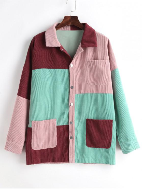 Sale Color Block Buttoned Pockets Corduroy Coat   Multi L by Zaful