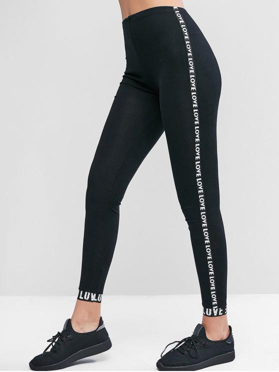 ladies Pull On Dazzling Letter Graphic Leggings - BLACK ONE SIZE