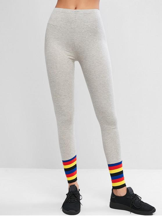 sale Pull On Rainbow Stripes High Waisted Leggings - GRAY GOOSE ONE SIZE