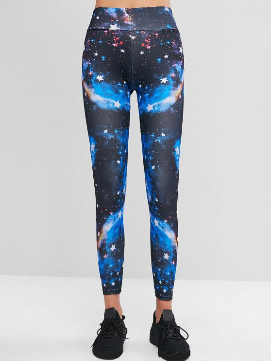 fancy High Waisted Pull On Sparkle Galaxy Print Leggings - MULTI-A S