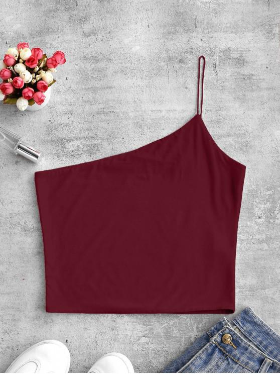 outfit ZAFUL Plain One Shoulder Crop Cami Top - RED WINE XL