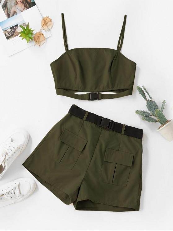 chic ZAFUL Buckle Zip Pocket Belted Two Piece Shorts Set - ARMY GREEN S