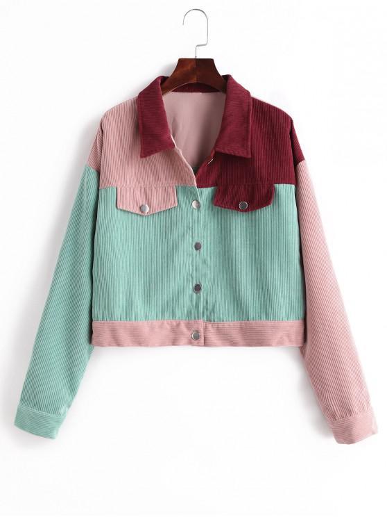 womens Faux Pockets Color Block Corduroy Jacket - MULTI XL