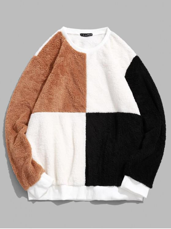 outfits ZAFUL Color Block Splicing Pullover Fluffy Sweatshirt - WHITE 2XL