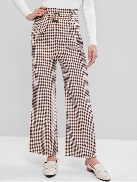 women Belted Wide Leg Gingham Paperbag Pants - RED DIRT S