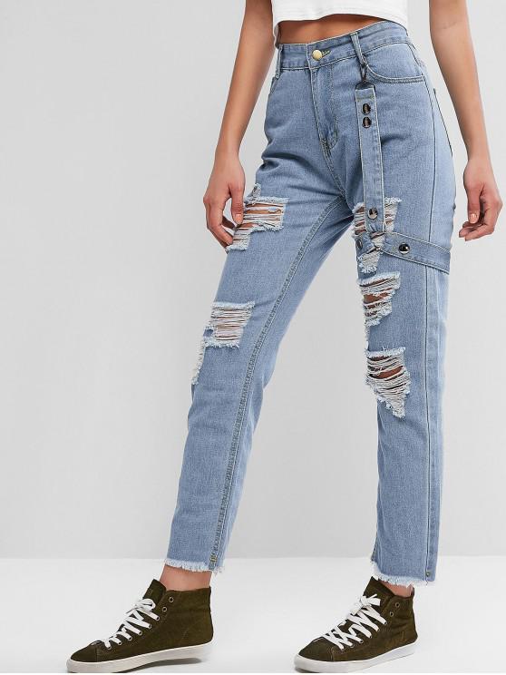 buy Destroyed Garter Frayed Hem Straight Jeans - DENIM BLUE M