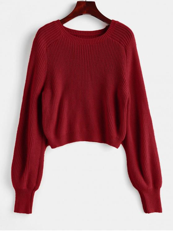latest Raglan Sleeve Crew Neck Pullover Sweater - RED L