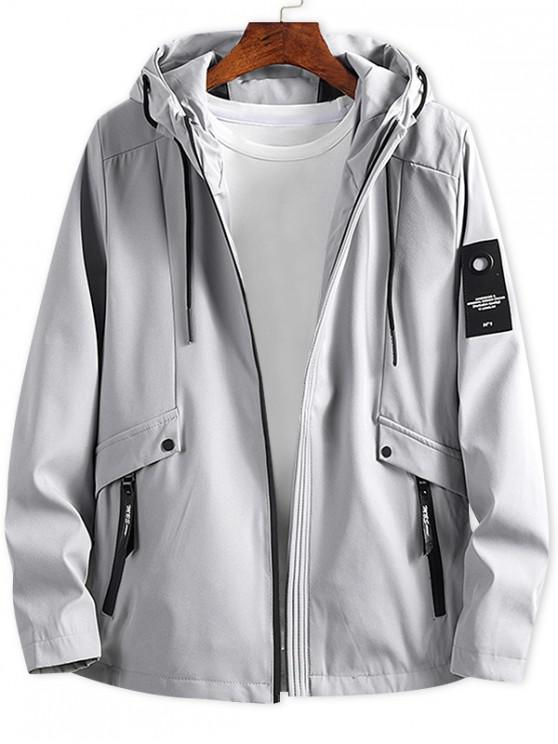 online Letter Patch Solid Zipper Hooded Jacket - LIGHT GRAY XS