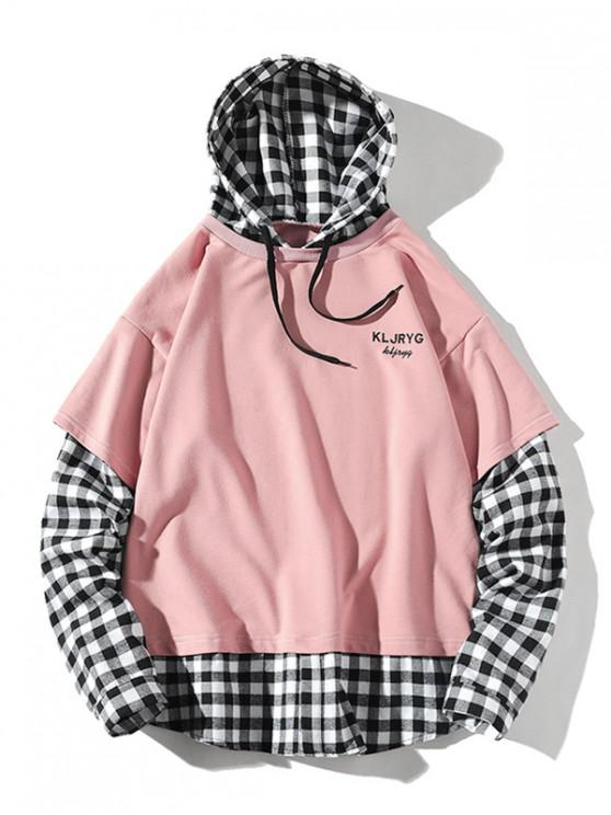 latest Letter Embroidery Plaid Splicing Faux Twinset Hoodie - PINK 4XL