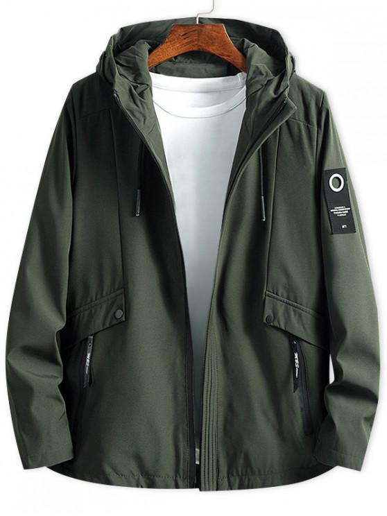 ladies Letter Patch Solid Zipper Hooded Jacket - ARMY GREEN XS