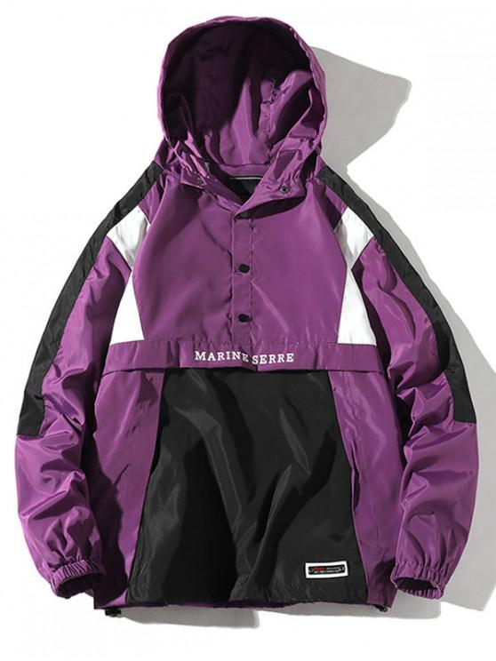 sale Color Block Splicing Pullover Hooded Jacket - PURPLE FLOWER L