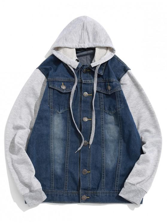 affordable Contrast Color Spliced Casual Combo Hooded jacket - BLUEBERRY BLUE XS