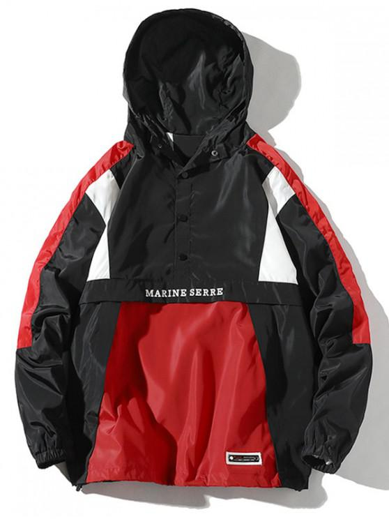 latest Color Block Splicing Pullover Hooded Jacket - BLACK XL