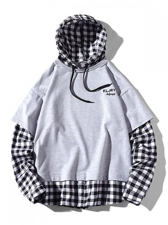 womens Letter Embroidery Plaid Splicing Faux Twinset Hoodie - LIGHT GRAY 2XL