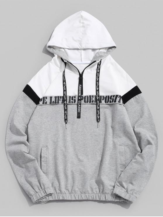 online Half Zipper Letter Graphic Print Color Block Splicing Hoodie - GRAY GOOSE L